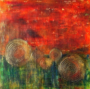 The Field - Susan Watson, Oil and cold wax on a gallery panel