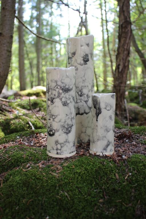 Set of 3 bubble glazed vases
