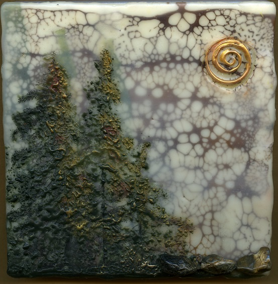 listen to the whispers of the forest (encaustic)