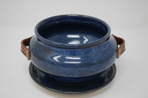 Blue and Copper Flower Pot